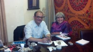 Joette Calabrese with Dr. Pratip Banerji at the PBHRF clinic in Kolkata